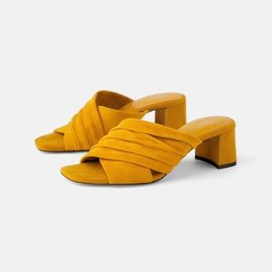 Zara genuine leather heeled mule sandals